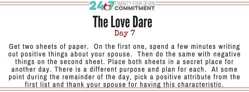 The Love Dare Day 7 banner