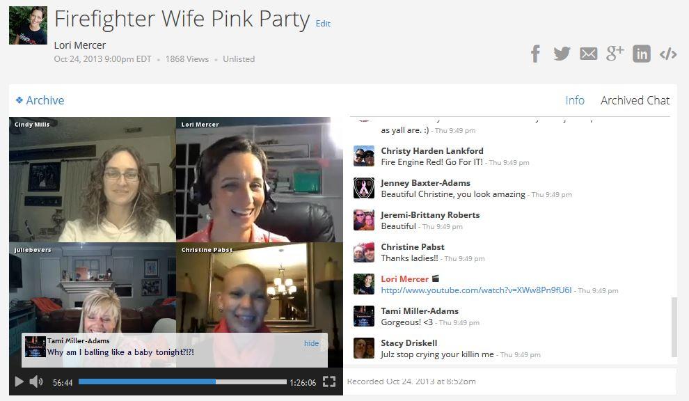 spreecast pink party scren capture