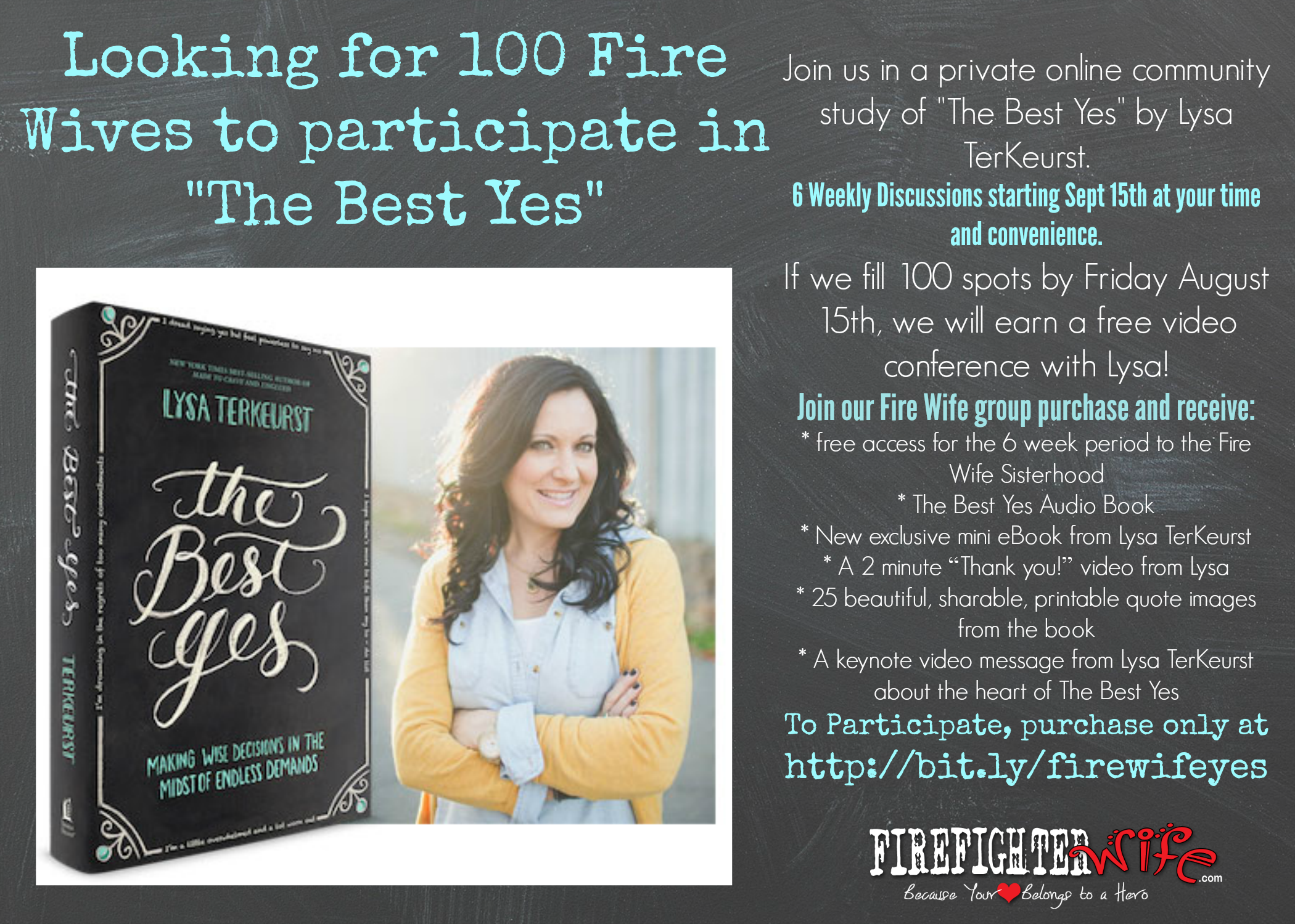 """Seeking 100 Fire Wives for an Exclusive Group Study of """"The Best Yes"""""""