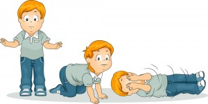 Illustration of a Boy Demonstrating the Stop Drop Roll Exercise
