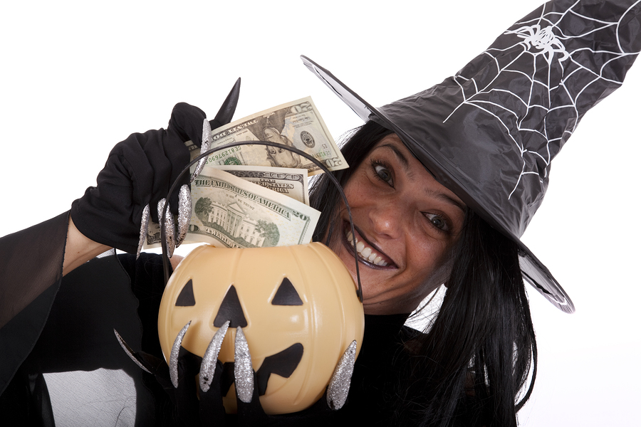halloween witch saving money on her pumpkin