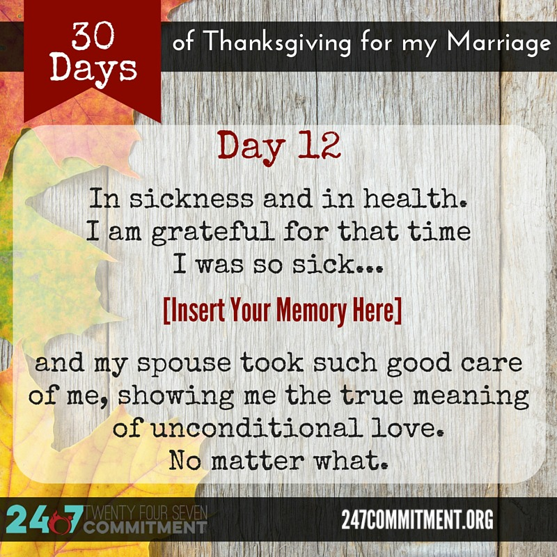 12 Thanksgiving for my Marriage