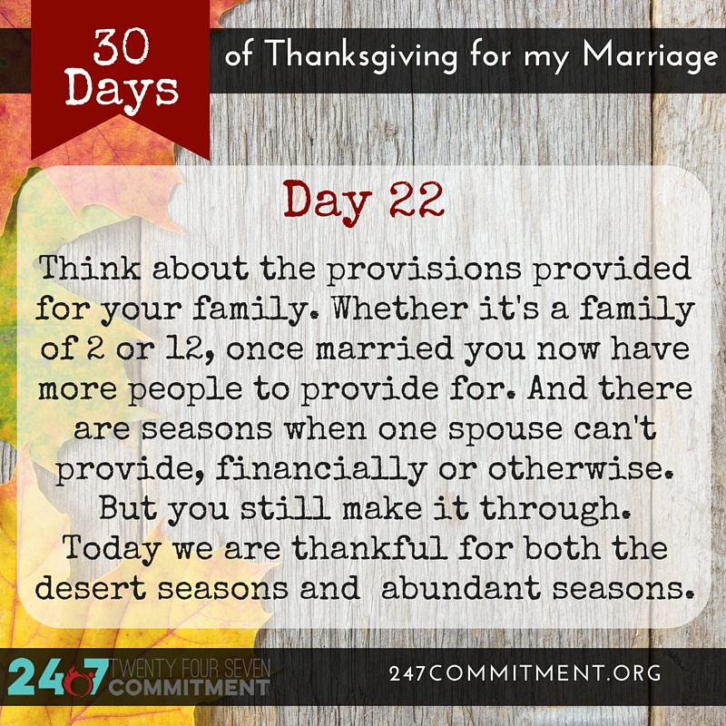 22 Thanksgiving for my Marriage